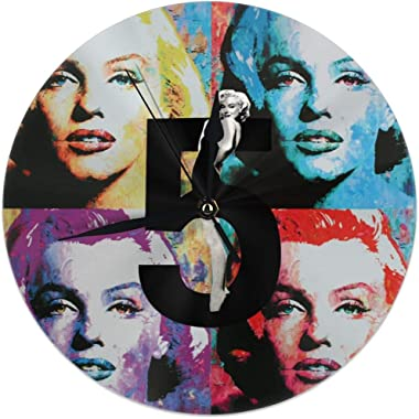 Clock Number Marilyn Monroe Colorful Urban Marilyn Monroe Decorative Wall Clock Universal Non - Ticking Elegant Wall Clock for Office Decor Simple Style 10in
