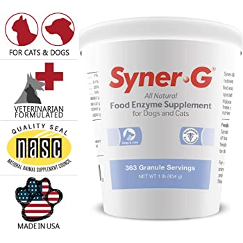PHS Syner-G Digestive Enzymes Supplement for Dogs and Cats - Enzymes Alpha-Amylase, Lipase, Cellulase, and Protease - Digestion Support, Absorption of Nutrients, Skin Health - Made in USA - 454 grams
