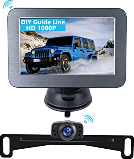 $98 » 1080P Wireless Backup Camera Kit with Stable Digital Signal 5 Inch HD LCD Monitor Waterproof Rear View Camera for Car Truc...