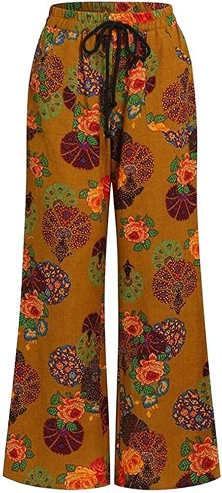 NP Linen Drawstring Women's Trousers Plus Size Printed Pants Casual Loose