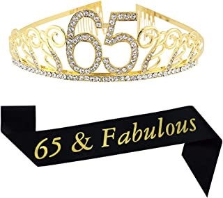65th Birthday Tiara and Sash, Glitter Sash and Crystal Rhinestone Tiara Crown for Happy 65th Birthday Party Supplies Favors Decorations Cake Topper