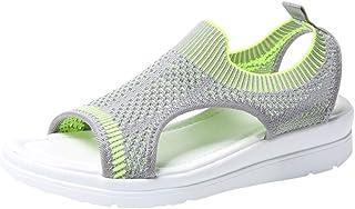 Women's Platform Thick Soft Sandals, NDGDA Ladies Open Toe Summer Flip Flop Shoes Roman Casual Flock Sandals