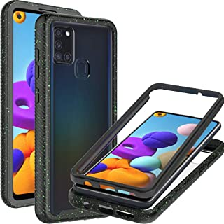 CoverON Full Body Cover for Samsung Galaxy A21s Case, Ultra HD Clear Heavy Duty Rugged Anti-Slip Guard - Black (Spotted Gr...