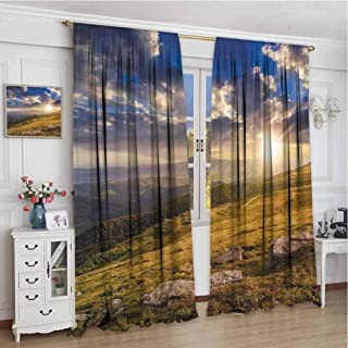 GUUVOR Nature All Season Insulation Mountain Hills Landscape with Vibrant Sunlights on Meadow Misty Rural Panorama Noise Reduction Curtain Panel Living Room W96 x L108 Inch Blue Amber Dust