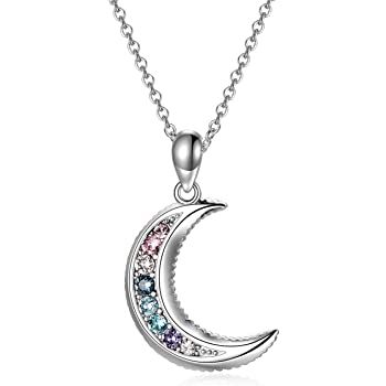 Eclipse Sun Moon Necklace with Cubic Zirconia Rhodium-plated Sterling Silver