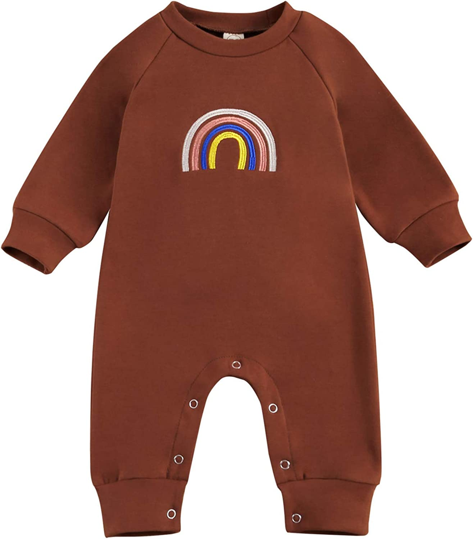 Newborn Baby Boy Girl Long Sleeve Rainbow Print Long Sleeve Romper Footies Bodysuits Jumpsuit