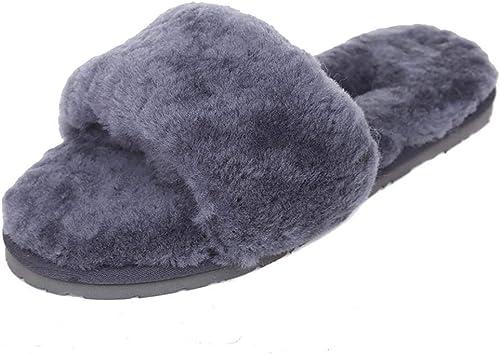 Fuxitoggo Laine en en en Peau de Mouton, Chaussons Plats à la Maison Pantoufles Chaussures d'hiver en Laine pour Femmes à la Maison en Peluche (Couleuré   gris, Taille   37) 96c