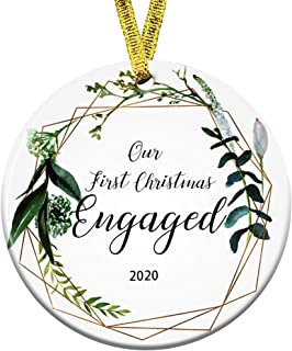 Best Kooer Our First Christmas Engaged Ornament 2020 Wedding Shower Gift Just Married Gift Wedding Ornament (Engraved 1) Review