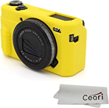CEARI Silicone Case Rubber Camera Protective Cover Skin for Canon PowerShot G7X Mark II Digital Camera + Microfiber Cloth - Yellow