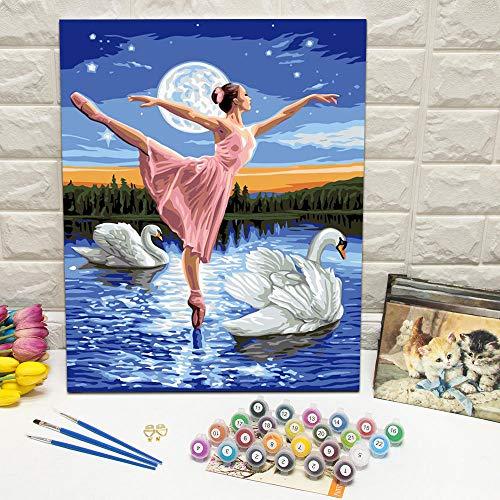 OKOUNOKO Pintura por Conjunto Digital, Cisne Y Mujer, Cuadro para Colorear Lienzo, Decoración del Hogar, Sin Marco Regalo para Un Amigo, 60X90Cm