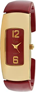 Viva 14k Gold Plated Red Acrylic Bangle Big Numbers Fashion Watch #V1144RD