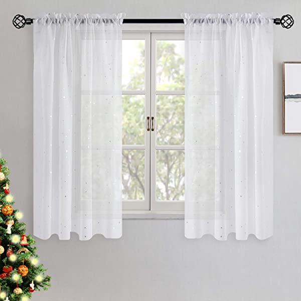 BGment White Sheer Curtains Silver Star Foil Printed Rod Pocket Sheer Curtains For Bedroom 2 Panels Of 52 X 63 Inch White