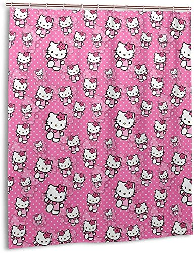 Cartoon Hello Kitty Duschvorhang Badezimmer Dekor Exquisite Schimmelresistent Wasserdicht Extra Lang Badvorhang mit 12 Haken