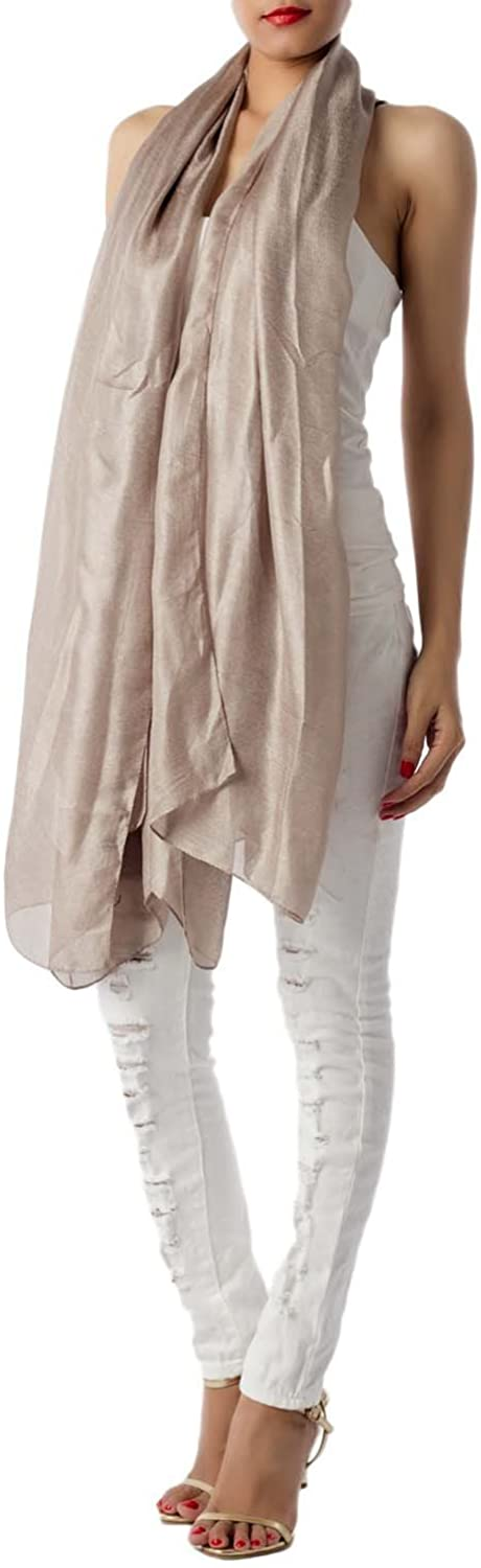 iB-iP Women's Solid Color Flaxen Lightweight Large Oversized Sheer Fashion Scarf