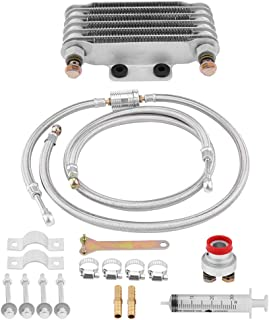 KIMISS Aluminum 85ml Oil Cooler Engine Oil Cooling Radiator System Kit With 2pcs Hollow Screw for GY6 100CC-150CC Engine(Silver)
