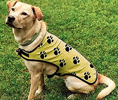 Canine Chiller, PVA Cooling Vest for Dogs, Yellow with Black Paw Prints (XL)