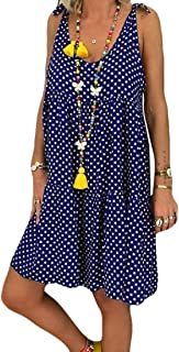 Mogogo Women's Tiered Sleeveless Oversized Tie Knot Polka Dots Mini Dresses