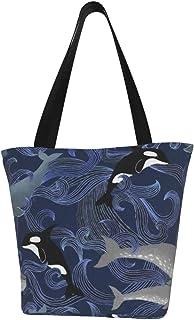 Lesif Einkaufstaschen, schöne Ocean Giants lila Segeltuch-Schultertaschen, wiederverwendbare faltbare Reisetaschen, groß und langlebig, robuste Einkaufstaschen