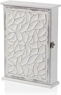 TIENDA EURASIA® Caja de Madera para Colgar Llaves - Armario Decorativo para Llaves - 21 x 6,5 x 27 cm (Ondas)