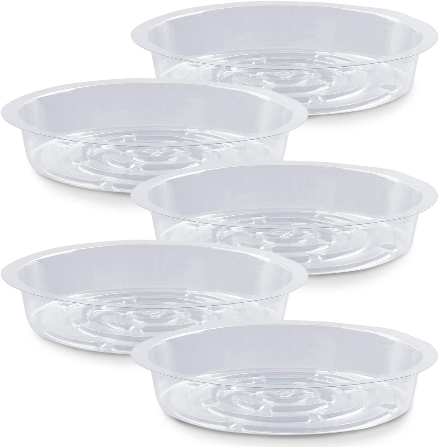 Plant Saucer,5 Pack Heavy Duty Plastic Plant Saucer Drip Trays Small Plant Plate Dish,Heavy Duty Clear Plastic Plant Saucers Flower Pot Tray Flower Pot Drip Pan for Indoor and Outdoor Plants (6 Inch)