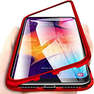 EabHulie Galaxy A50 Case, Hybrid 2 in 1 Transparent Tempered Glass Hard Back Metal Bumper Magnetic Adsorption Case Cover for Samsung Galaxy A50 Red