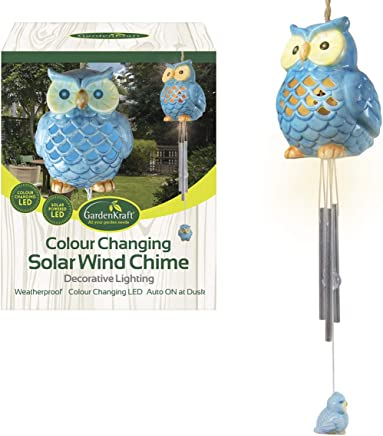 GardenKraft 16680 Colour Changing Solar Ceramic Owl Wind Chime and Light, Blue