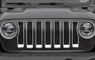 LAUTO Kit Inserti griglia griglia Anteriore 9 Pezzi e Kit Inserti Copertura Faro per Jeep Wrangler JL 2018+,Rosso