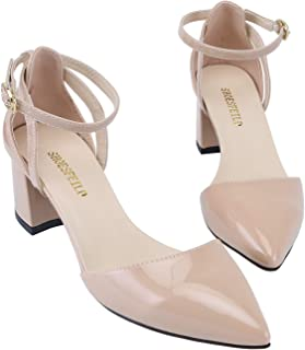SHOESFEILD Women's Chunky Block Heels Closed Toe Ankle Strap Mid Heels Dress Shoes