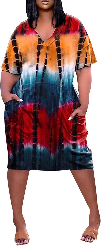 Jinjin2 Women Casual Dress, Summer Dress Loose Beach Skirt Elegant V Neck Short Sleeve Boho Dress Tie Dye Print