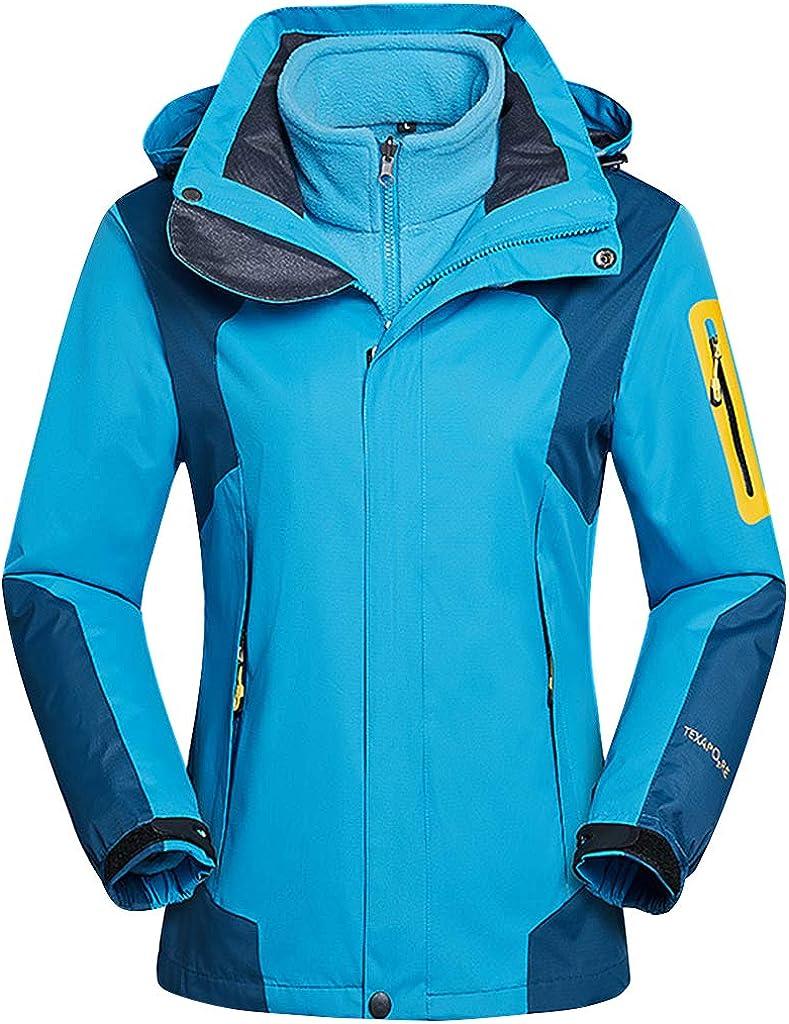 Hony Adult Outdoor Ski Jacket Women Two-Piece Set Detachable Warm Jacket Windproof D