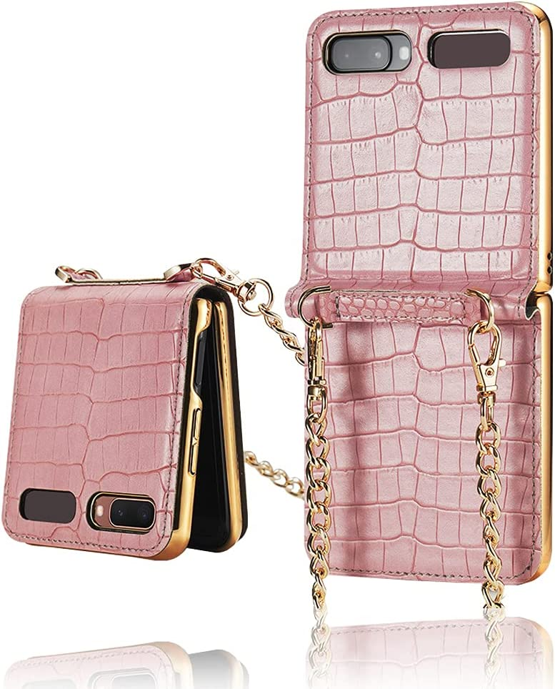 Yatchen Leather Case Designs Samsung Galaxy Z Flip,Cute Luxury Bag Design with Metal Chain for Women Crocodile Skin Cover Case with Makeup Mirror Magnetic Flip Protector for Galaxy Z Flip 5G (Pink)