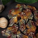 Hellfire Elder Futhark Viking Runes Set, 25 piezas de resina de adivinación rúnica, piedras mágicas blancas, accesorio de fantasía pagana