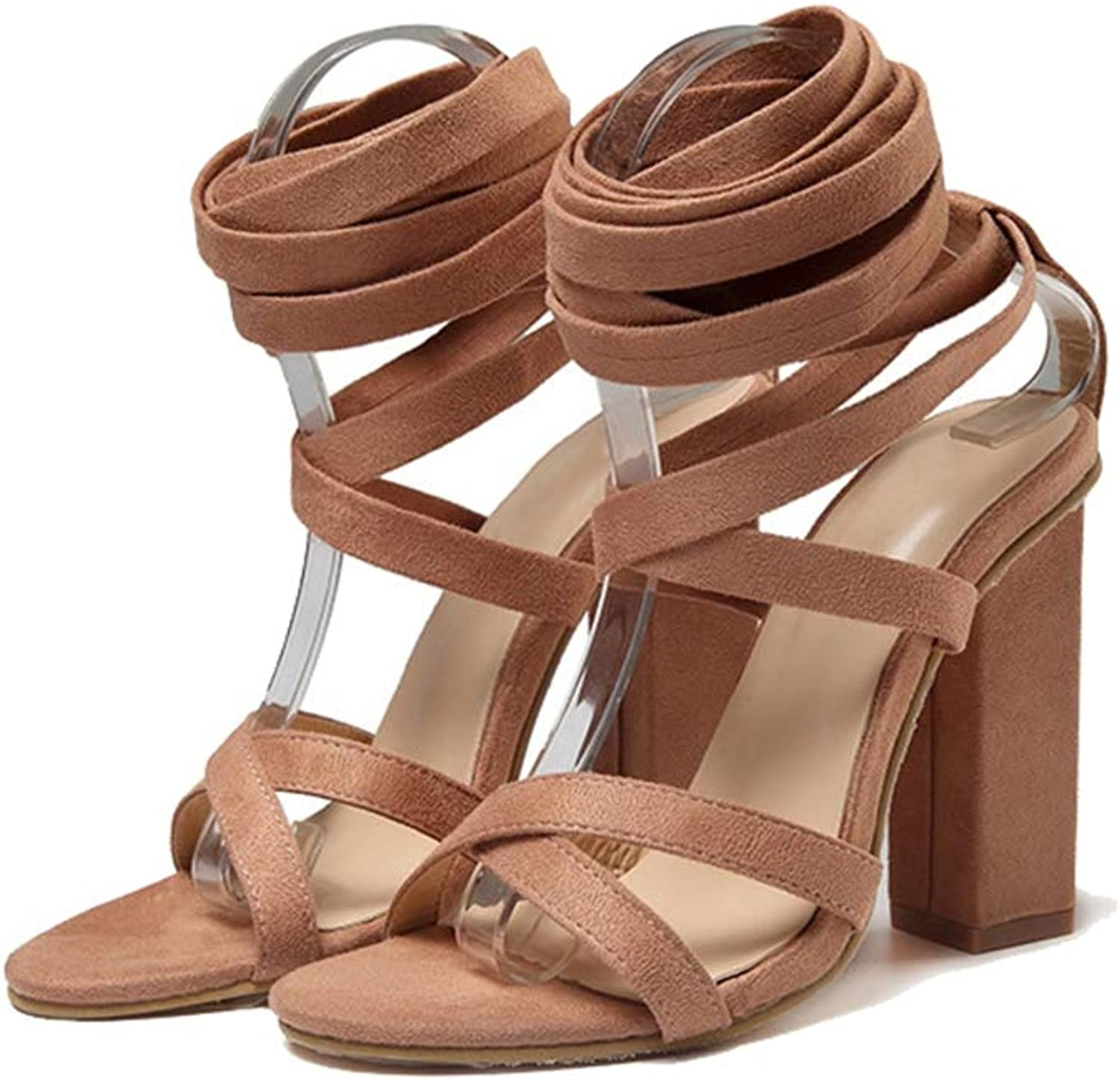 Women's Pumps,Summer Classic Chunky Heel Red Khaki Ankle Strap Sandals