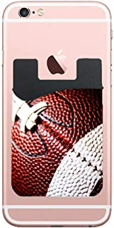 2pcs Stick On Back of Cell Phone Pocket Wallets, Adhesive Credit Card Holder (American Football)