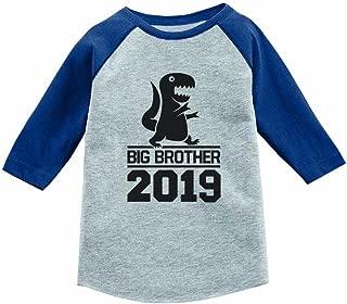 Gift for Big Brother 2019 T-Rex Boy 3/4 Sleeve Baseball Jersey Toddler Shirt