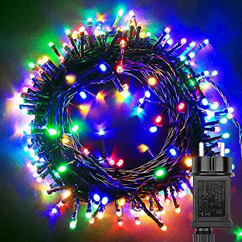 Joycome Catena Luci 200 LED 30m Luci Natale 8 Modalità Impermeabile Luci Natalizie Per interna ed esterna Giardino Feste Albero Natale Casa Feste Balcone Decorazioni (Multicolore)