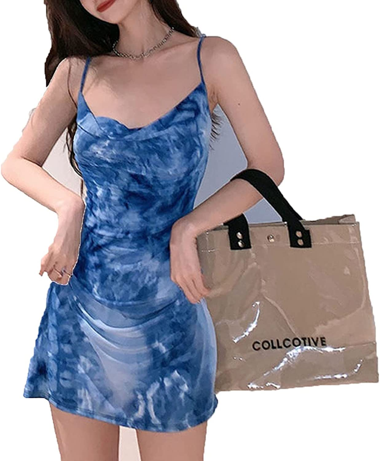 Everybody Let's Rock Ice Silk Sling Dress Slim Thin Dress Women Summer Beach Sexy Y2k Mini Dresses for Women Party Clothes