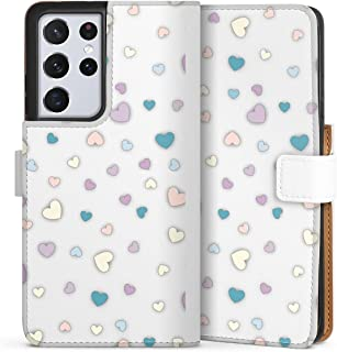 Sideflip compatibel met Samsung Galaxy S21 Ultra 5G Bookcase Flipcase Hart Pastel Transparant
