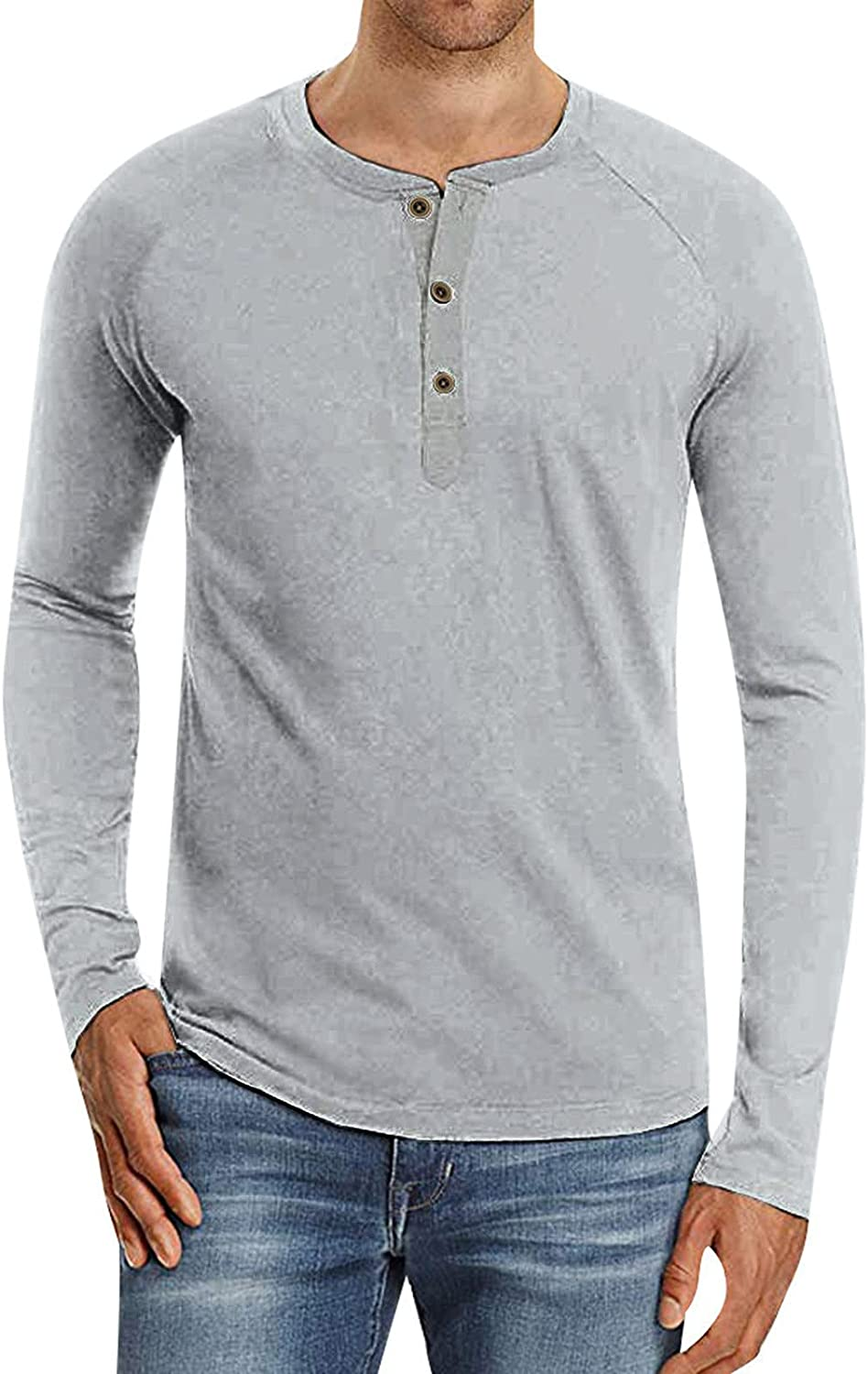 xoxing Long Sleeve Tee Shirts for Men Casual Autumn Plus Size Loose Basic Solid Color Button Henley Jacket Top Blouse
