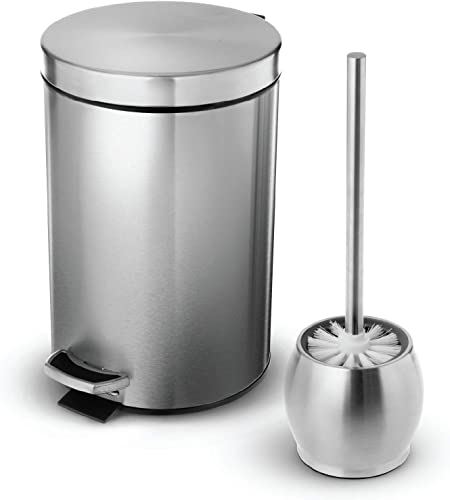 discount Home Zone discount Living 1.8 new arrival Gallon Bathroom Trash Can and Toilet Brush Combo, Stainless Steel, 7 Liter sale