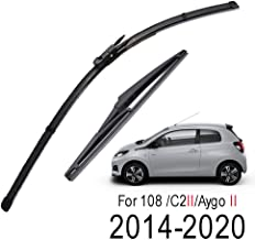 Xukey Front + Rear Windshield Wiper Blades Set Fit For Peugeot 108 Toyota Aygo Citroen C1 II