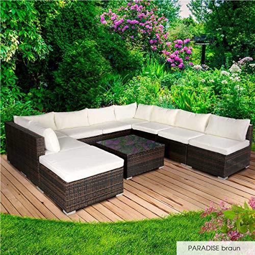 BRAST Poly-Rattan Gartenmöbel Lounge Set 14 Modelle 3 Farben 4-12 Personen Sitzgruppe Paradise Braun