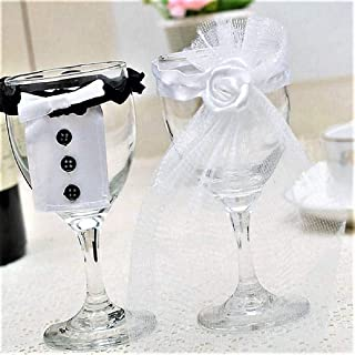Wedding Bridal Wine Glass Cup Cover - set of 2 Bridal Veil/Groom Tux/Bow knots (Bridal Veil & Groom Tux)