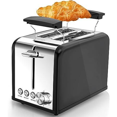 morpilot Grille Pain Noir Vintage Toaster Grille-pain Inox avec 2 Fentes, Support Viennoiserie, 6 Niveaux de Brunissage, Décongélation/Réchauffage/Annulation, 815W
