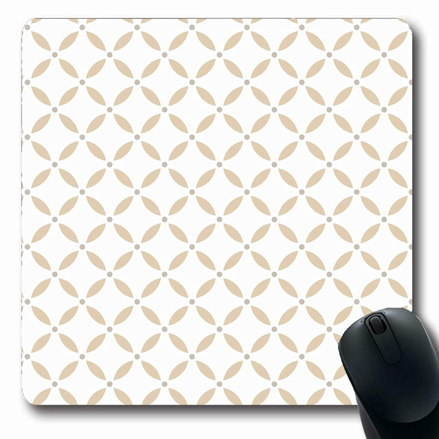 Ahawoso Mousepads Flower Silver Abstract Floral Pattern Gray Baroque Carpet Classic Color Damask Design Oblong Shape 7.9 x 9.5 Inches Non-Slip Gaming Mouse Pad Rubber Oblong Mat
