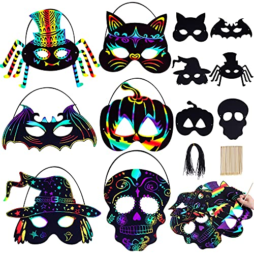 Max Fun 36PCS Magic Scratch Art Rainbow Scratch Halloween Mask Art Craft Kit with 36 Elastic Cords & 28 Wooden Styluses for Kid's Birthday Cosplay Halloween Party Favor