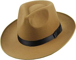 Yying Vintage Hombres Mujeres Sombrero De Fieltro Duro ala Tipo Fedora Trilby Sombrero De Panamá Gorro Gangster