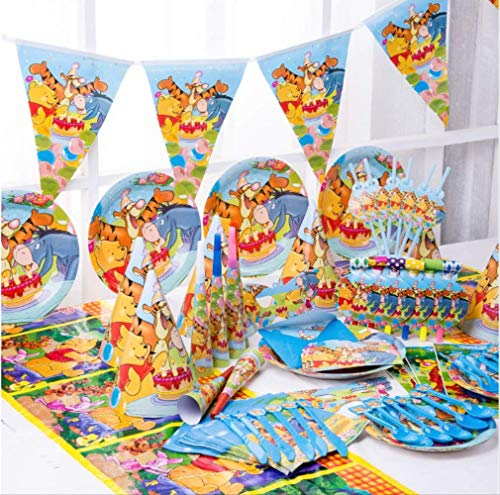 MAGRF Winnie The Pooh Alles Gute zum Geburtstag Kinder Party Dekoration Set Hochzeit Event Baby Shower Party Supplies