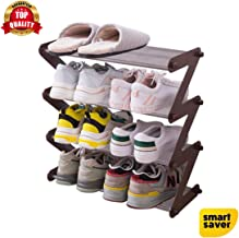 Smart Saver 4 Tier Shoe Rack, Stackable Multi-Layer Shoe Organizer Shelf for Living Room, Entryway, Hallway and Cloakroom-Brown