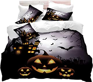 VITALE Duvet Cover Set, Halloween Printed Queen Size Quilt Cover Set, Cartoon Horror Jack-o'-Lantern Printed 3 Pieces Queen Size Bedding Set Kids Bedding Halloween Decor